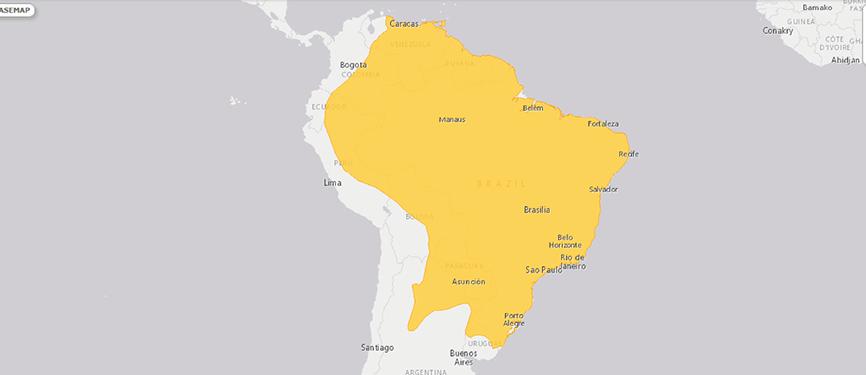 Verbreitungskarte Südlicher Tamandua