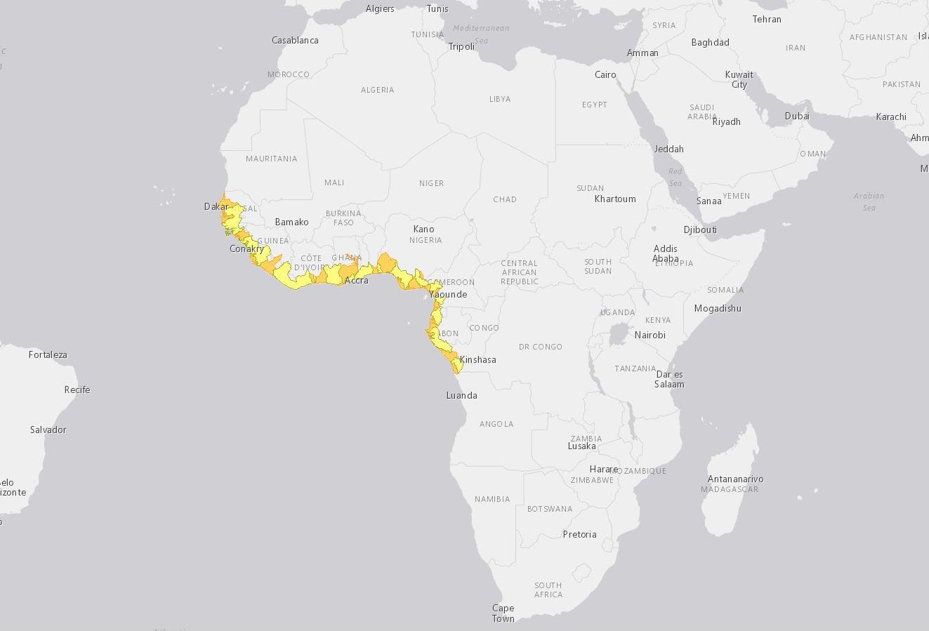 Verbreitungskarte Atlantischer Schlammspringer