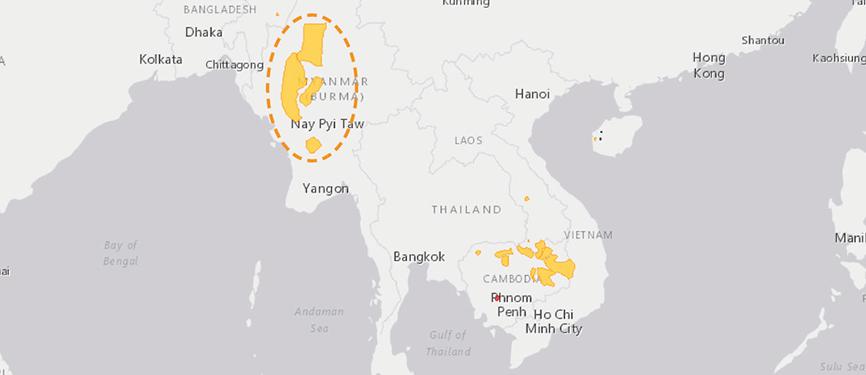 Verbreitungskarte Burma-Leierhirsch