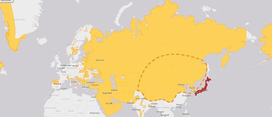 Verbreitungskarte Mongolischer Wolf