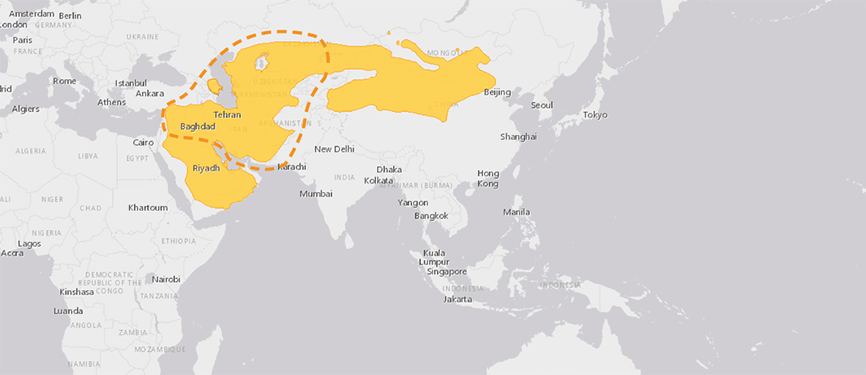Verbreitungskarte Persische Kropfgazelle
