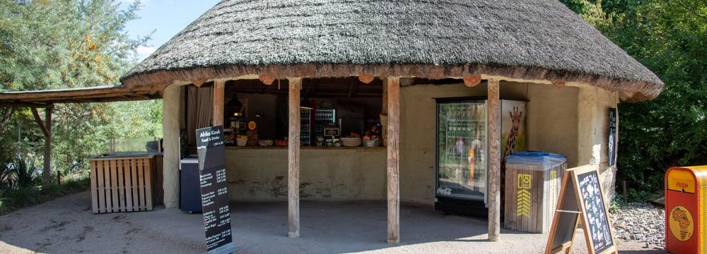 Afrika-Kiosk im Zoo Zürich.