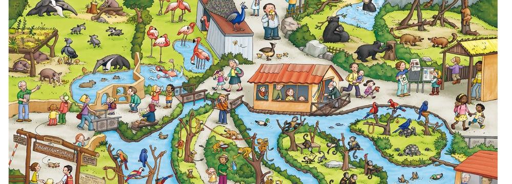 Die Anlage «Pantanal» aus dem Zoo Zürich Wimmelbuch