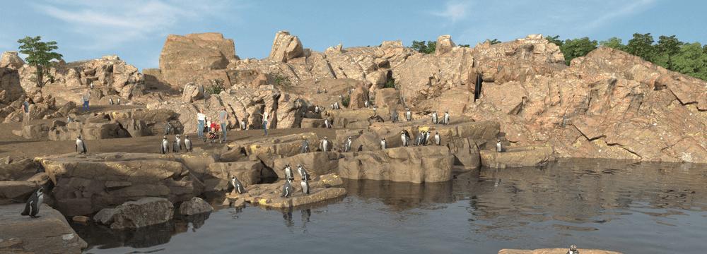 Rendering der Meeresküste Pinguine im Zoo Zürich