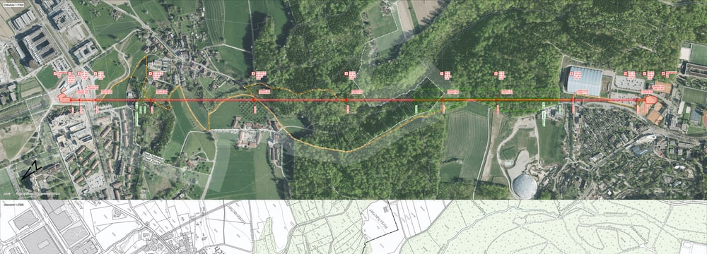 Visualisierung der Linienführung Zooseilbahn.