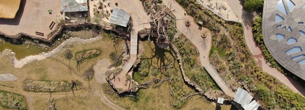 Lewa Dorf im Zoo Zürich aus der Luft