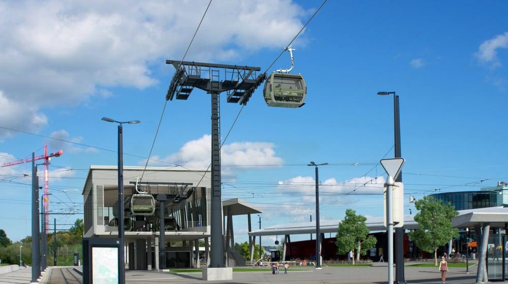 Visualisierung der Talstation Zooseilbahn in Stettbach.