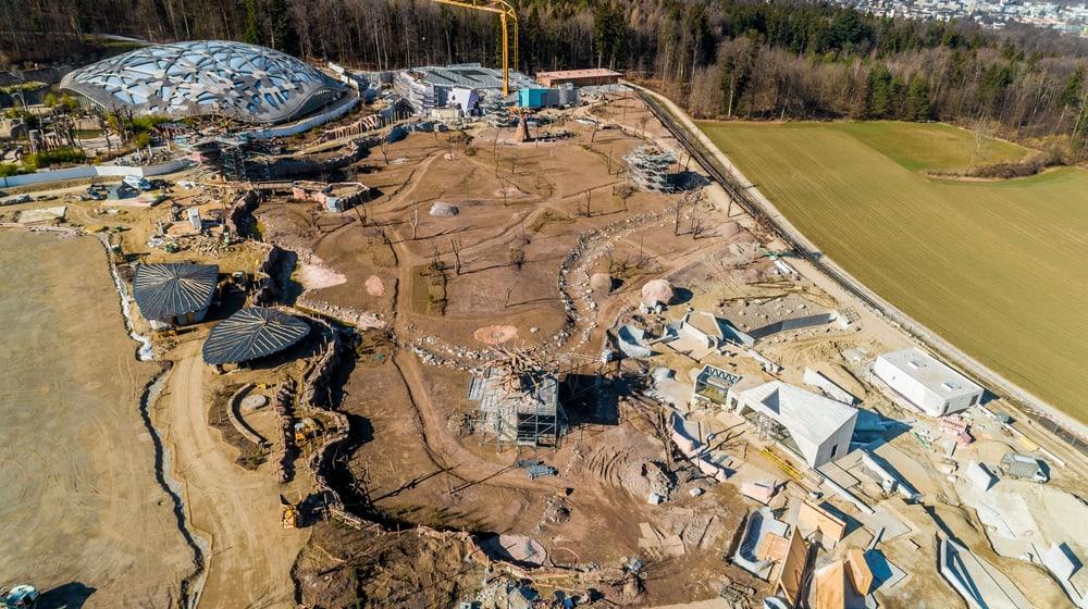 Luftaufnahme Baustelle Lewa Savanne.