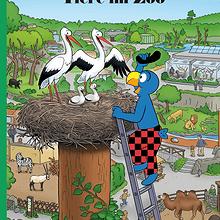Globi und die Tiere im Zoo.