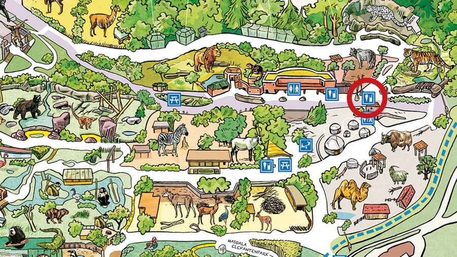 Situationsplan Himalaya-Grill im Zoo Zürich.