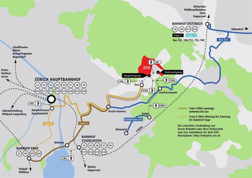 Karte zur Anreise mit dem ÖV in den Zoo Zürich.