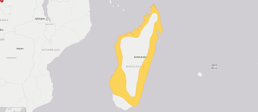 Verbreitungskarte Madagaskar-Hundskopfboa
