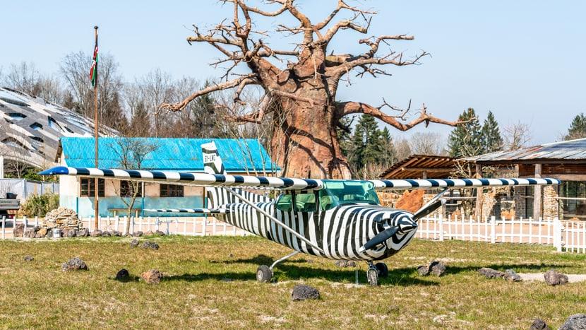 Lewa Savanne Zoo Zürich mit Flugfeld und Lewa-Dorf.