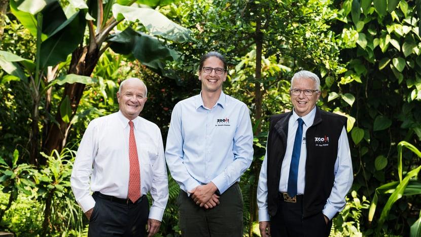 (v.l.) Zoo-Verwaltungsratspräsident Martin Naville, designierter Zoodirektor Dr. Severin Dressen, amtierender Zoodirektor Dr. Alex Rübel.