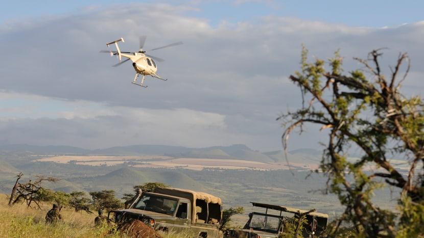 Helikopter des Lewa Wildlife Conservancys in Kenia.