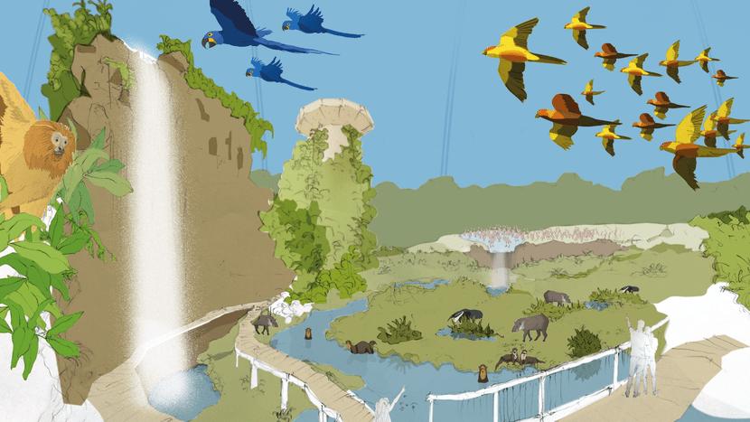 Visualisierung Pantanal Voliere im Zoo Zürich