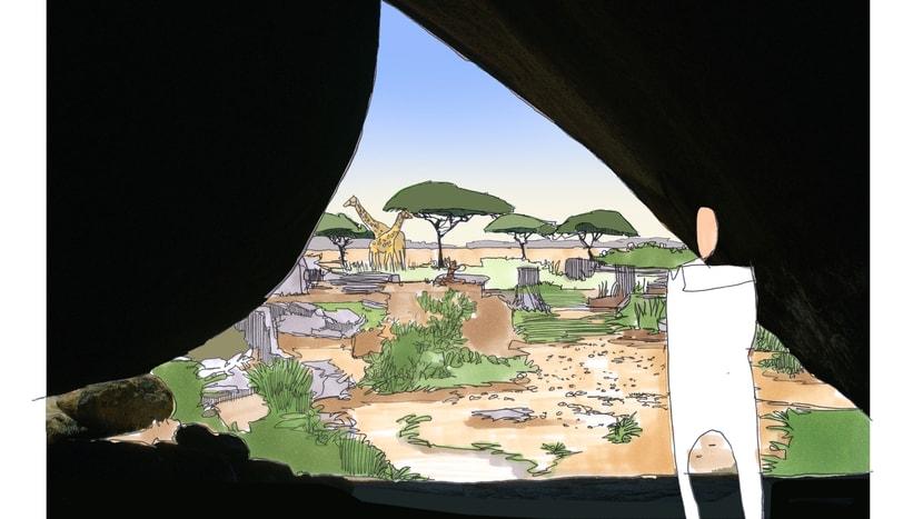 Visualisierung Lewa Savanne im Zoo Zürich.