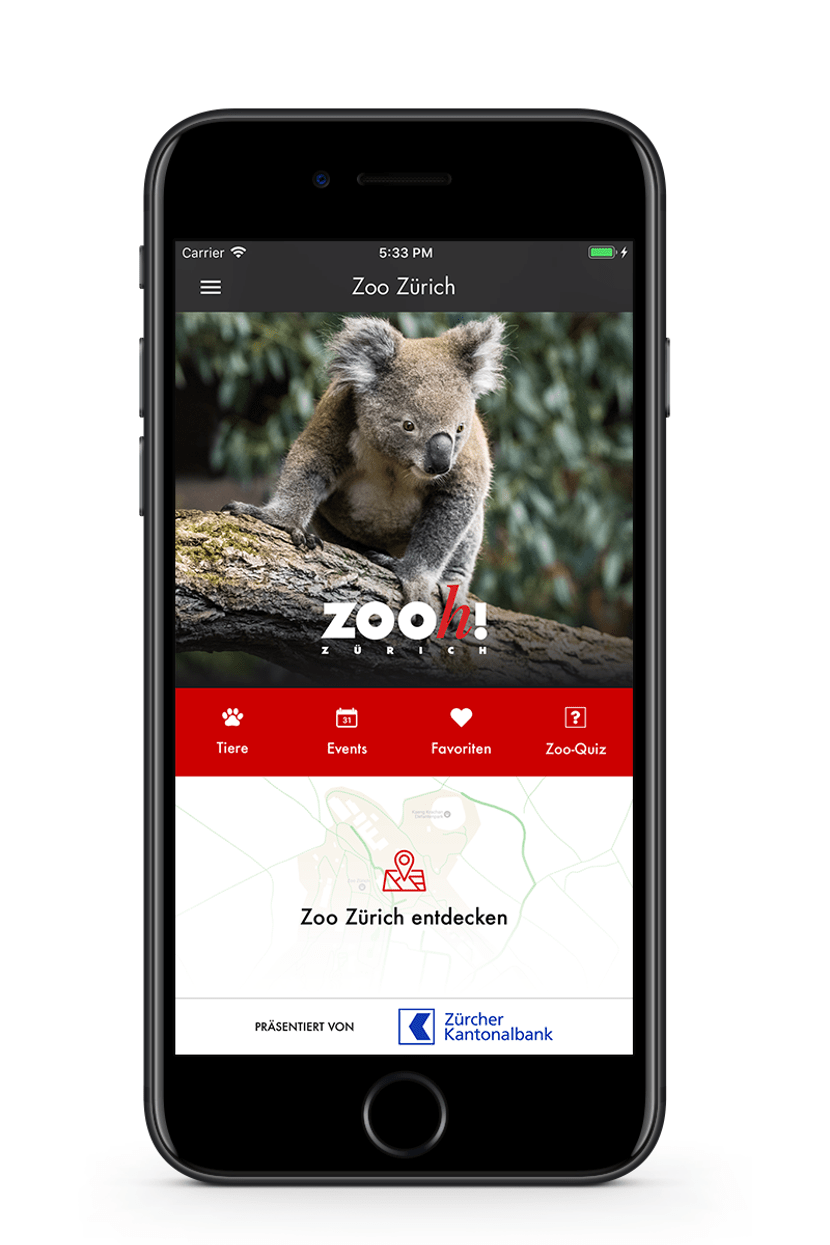 Zoo-App Startscreen