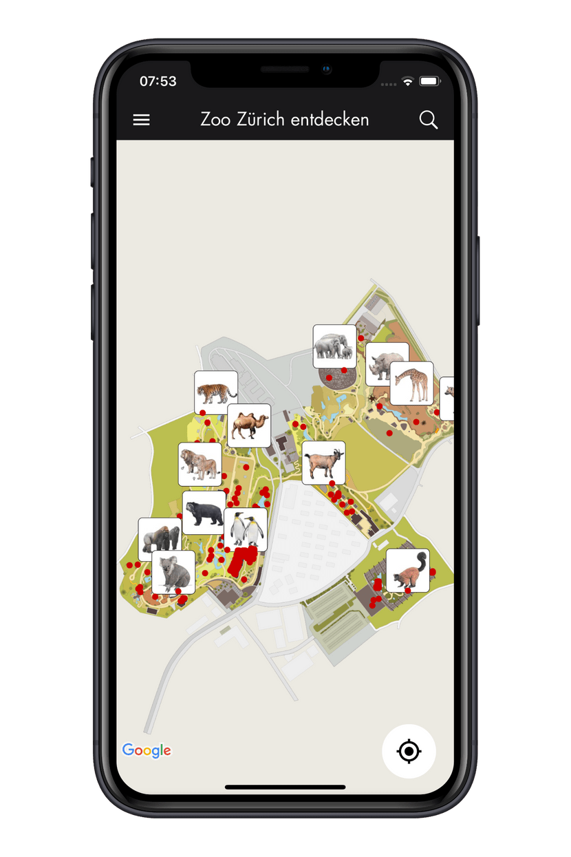 Zoo-App Übersichtskarte Tiere