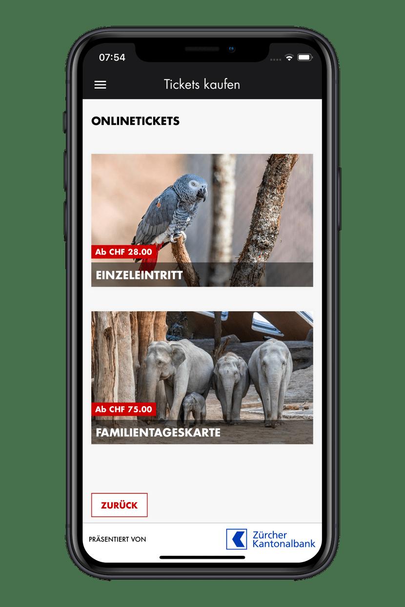 Zoo-App Ticket kaufen