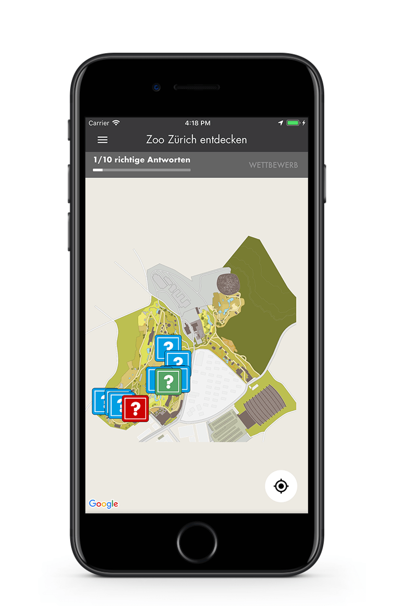 Zoo-App Quizfragen auf Übersichtskarte
