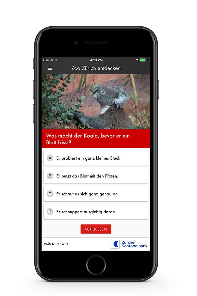 Zoo-App Quizfragen mit Antwortoptionen