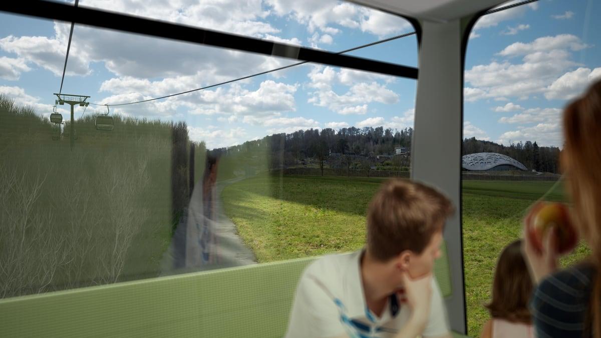 Visualisierung der Zooseilbahn von Stettbach zum Zoo Zürich.